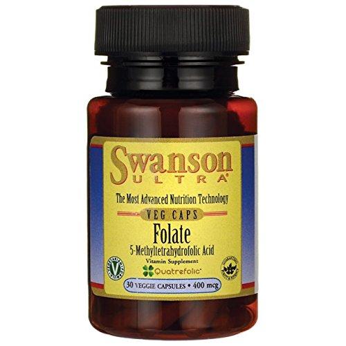 Swanson Folate (5-Methyltetrahydrofolic Acid) 400 mcg 30 Veg Capsules
