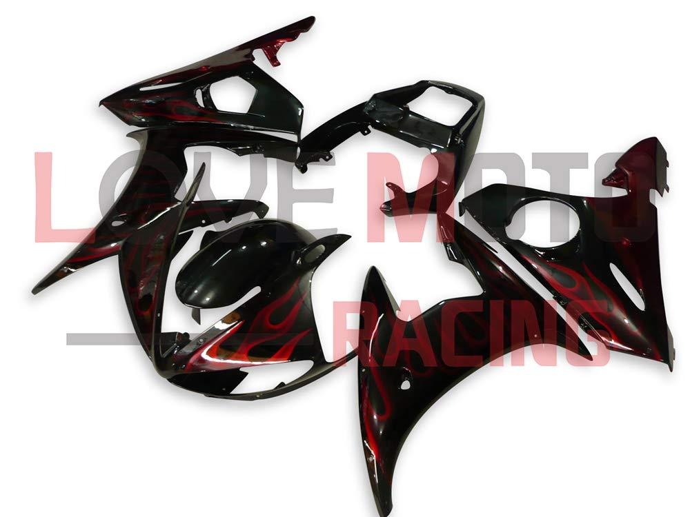 LoveMoto ブルー/イエローフェアリング ヤマハ yamaha YZF-600 R6 2003 2004 03 04 YZF 600 ABS射出成型プラスチックオートバイフェアリングセットのキット ブラック オレンジ   B07KK9CT24