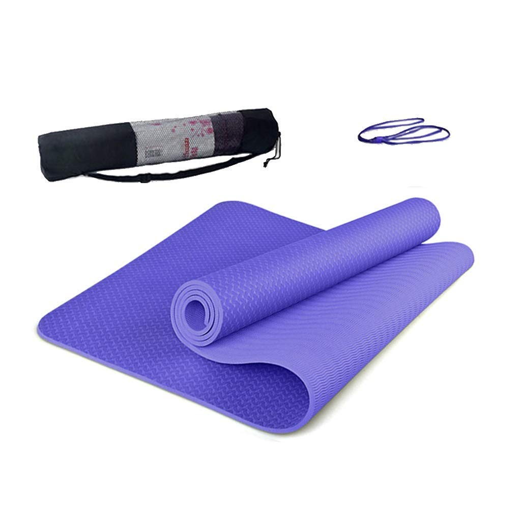 KYCD Stuoia di Yoga di Sport 0,8 Centimetri di Spessore Antiscivolo all'aperto e Coperta Pilates Ginnastica Danza Mat con Borsa a Rete e Tie Rope (colore   A)