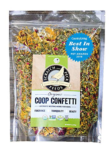 Fresh Eggs Daily - Organic Coop Confetti by Scratch and Peck Feeds - Aromatic Nesting Herbs for Hens - 6-Ounce (Magazine Feed)