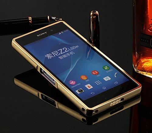 Sunroyal® Sony Z2 Funda Xperia Z2 Carcasa Premium Bling Rhinestone Accesorios Teléfono PC Tapa Dura Lujo Hard Ultra Slim Delgado Cubierta Piel Parachoques Estuche Rígido Caja Móvil Diamond shell Prote A-Oro