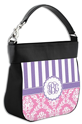 Genuine Trim Pink Personalized Purse w Leather amp; Hobo Front Purple Damask amp; Back wwxY8q4TA