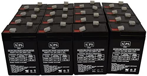 16 Pack SPS Brand 6V 4.5Ah Replacement Battery for Lithonia ELB06042 Sealed Lead Acid AGM VRLA