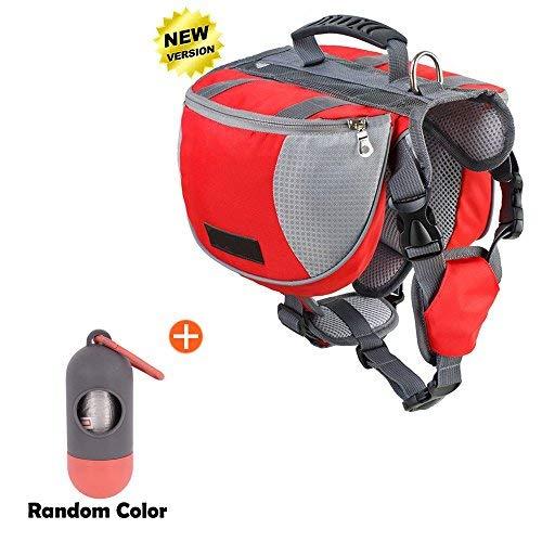 (Lifeunion Adjustable Service Dog Supply Backpack Outdoor Hiking Saddle Bag/Dog Poop Pick up Bags Holder Pet Waste Bags Dispenser Includes 15 Poop Bags (Red Backpack Set, Large))