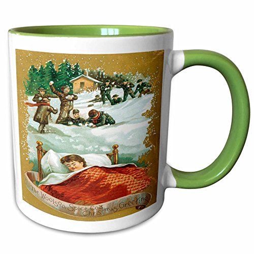 3dRose BLN Vintage Christmas Designs - Christmas Card With Child Sleeping Dreaming of Snowball Fights, Woolson Spice Co Christmas Greeting - 11oz Two-Tone Green Mug - Christmas Snowball Drink