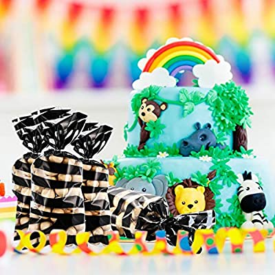 Blulu 100 Pieces Animal Print Party Supplies Bags Animal Print Design Pattern Candy Bags Sealable Treat Bags for Zoo or Jungle Halloween Theme Party Supplies (Zebra): Toys & Games