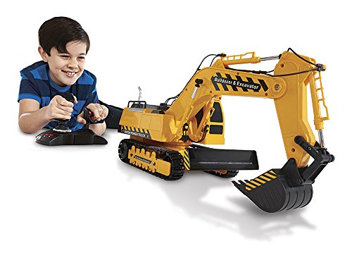 Kid Galaxy Mega Construction Remote Control Excavator & Bulldozer. 10 Function RC Toy Tractor, 49 MHz