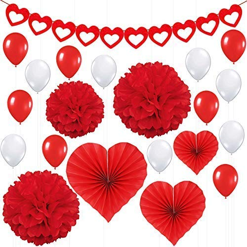 Valentines Day Party Decorations Kit - Pack of 21 | Red Heart Felt Garland Banner, Heart Paper Fans, Paper Pompoms, Red and White Latex Balloons | Great for Valentines Décor and Anniversary Backdrop]()