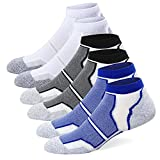 Well Knitting Men's 6 Pairs Cushioned Coolmax Sports Running Ankle Socks