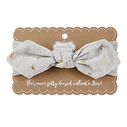 Mud Pie Baby Girls' Knot Bow Cotton Spandex Headband, gray, ONE SIZE