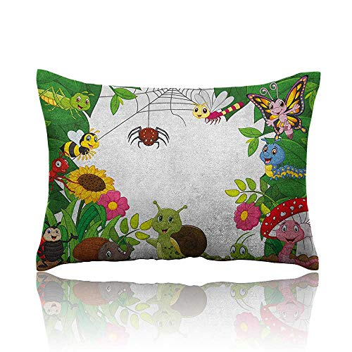 Anyangeight Nursery Mini Pillowcase Happy Little Butterflies Bugs Insects Comic Caterpillars Dragonflies Spider Web Fun Pillowcase 16