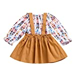 Baby Girls Skirts Set for 0-24 Months on Clearance Long Sleeve Blouse Tops + Suspenders Skirt Outfit Clothing Set