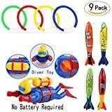 Underwater Swimming/Diving Pool Toy Rings (4 pcs), toypedo Bandits(4 pcs) and Scuba Diver for Toys Gift Set Bundle