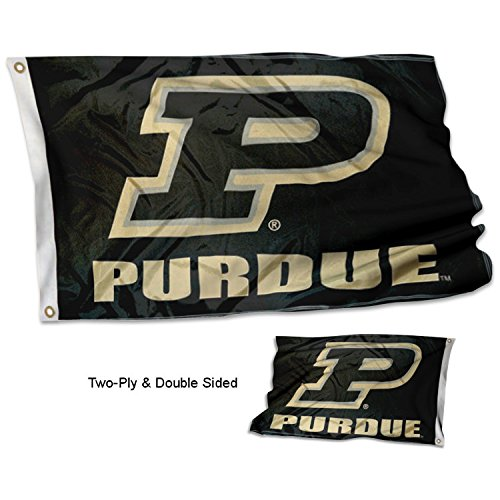 Purdue Boilermakers Banner Flag - Purdue Boilermakers Slanted P Double Sided Flag