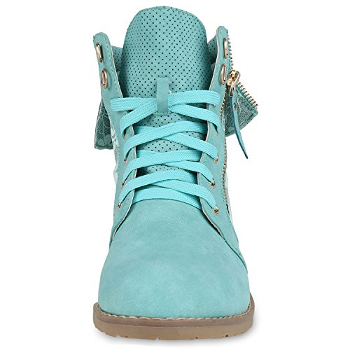 Damen Schnürstiefeletten Stiefeletten Übergrößen Denim Schuhe Prints Leder-Optik Schuhe Spitze Modische Boots Zipper Jennika Hellgrün