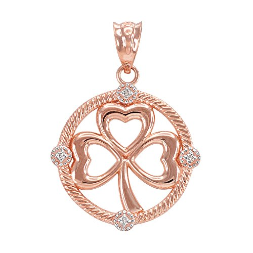 Diamond Shamrock Charm - 10K Rose Gold Irish Shamrock Diamond Clover Charm Pendant