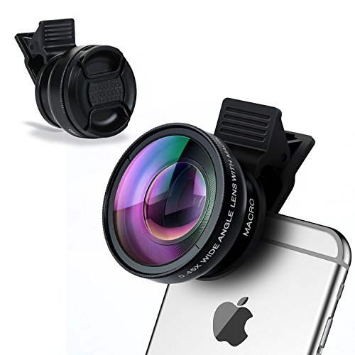 iPhone Camera Lens, Badalink 2 in 1 Cell Phone Camera Lens 160 Degree 0.45X Super Wide Angle Lens, 12.5X Macro Lens for iPhone7 6s 6s plus 6 plus 5s, Most Smartphones & Tablets