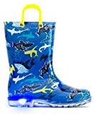 MOFEVER Toddler Kids Boys Rain Boots Light Up Waterproof Shoes Blue Shark Print Lightweight Cute Lovely Funny Print with Easy-On Handles (Size 11,Blue)