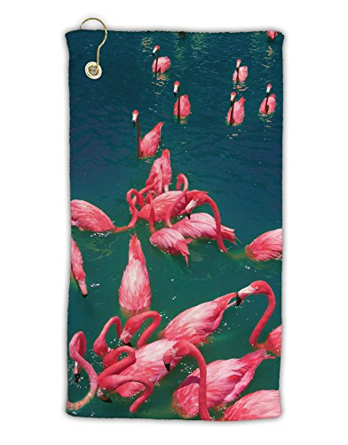 """TooLoud Bright Pink Painted Flamingos Micro Terry Gromet Golf Towel 15"""" x 22"""" All Over Print"""