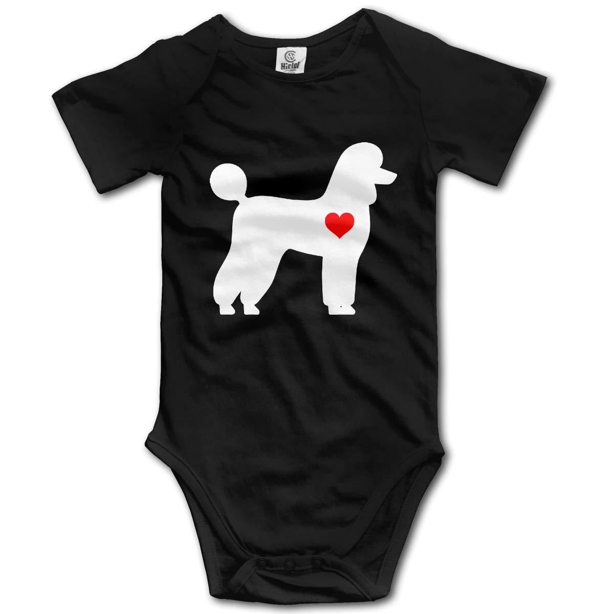 Poodle Dog Heart Newborn Infant Baby Short Sleeve Romper Bodysuit Tops 0-24 Months