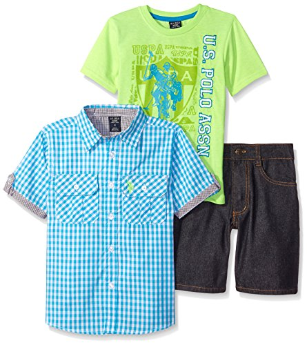 U.S. Polo Assn. Little Boys 3 Piece Gingham Woven Shirt, Graphic T-Shirt and Denim Short, Aqua/Lime/Black Denim, - Gingham Denim Short