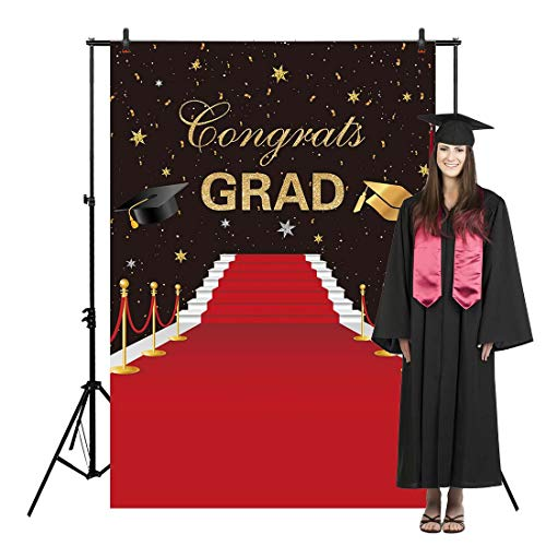 Allenjoy 5x7ft Graduation Backdrop Congrats Class of Grad Red Carpet Night Party Ceremony for College Congratulate Prom Pictures Candy Table Dessert Decor Banner Event Photo Booth Shoot Background