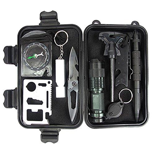 HOTIN CITY 10 in 1 Professional Survival Kit Outdoor Trav...