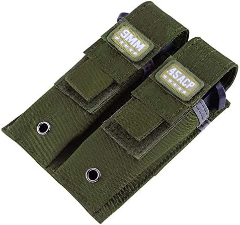 Double Pistol Mag Pouch Single and Double Stack Magazine Holster with Magic Tape