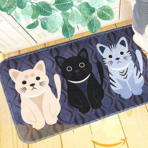 ELOHAS Go Away Rubber Deep Blue Welcome Doormat Runner Inserts Indoor Outdoors Natural Easy Clean Cute Cat Floor Rug Door Mats for Entry Way Patio, Front Door, All Weather Exterior, 16X24