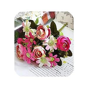 5 Branches Fengju Small Tea Flowers Artificial Flowers Bouquet Silk Flowers Home Photo Wedding Set Christmas Decor Handmade DIY,Rose Red 76