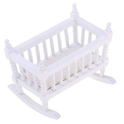 1:12 Dollhouse Miniature Wooden Crib Baby Doll Cradle Bed Children Room Gift \