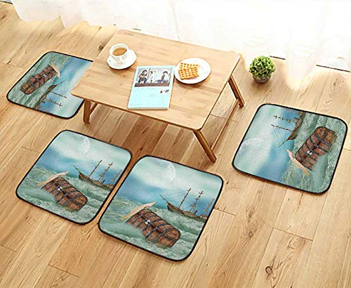 (Leighhome Home Chair Set Old Trunk in Ocean Waves with Magic Bird Pirate Boat Picture Mint Green Machine-Washable W21.5 x L21.5/4PCS Set)