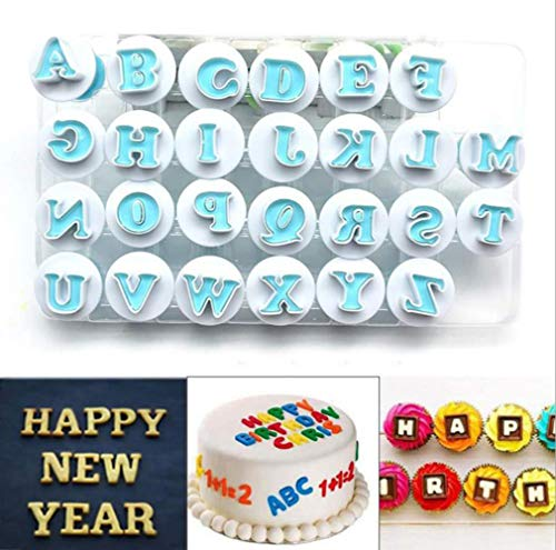 Nuoda Alphabet Letters, 26pcs Uppercase Letters Fondant Cake Biscuit Mold,Cake Decorating Tools, Cookie Stamp Impress,Embosser Cutter, DIY Sugar Craft Cookies Plunger-Plastic (Uppercase -