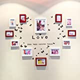 ZGP Home@Wall photo frame Solid Wood Photo Wall + Love Wall Stickers Photo Wall Photo Frame Fashion Creative Combination Wall Living Room Bedroom Home (Color : B)