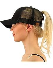 SEALEN Ponytail Messy Buns Trucker Ponycaps Plain Baseball Visor Cap Dad Hat, Adjustable Plain Visor Caps Multicoloured Athletic Ponytail Caps for Women Girl Black