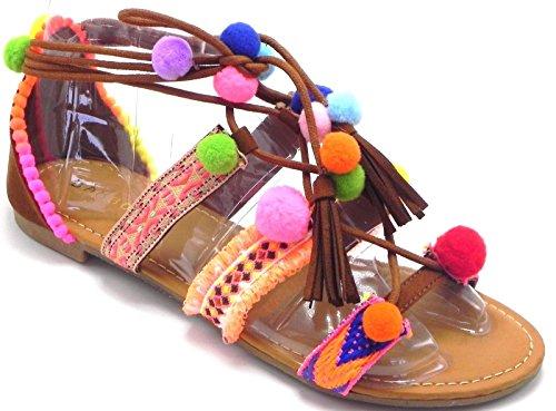 Dev Bamboo Forever Smartty Womens Pom-pom Flip Flop Bohemia Impreziosito Cinturino Alla Caviglia Turbolenza Lollipop Colorato Flat Sandalo Scarpe Castagne