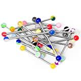 BodyJewelryOnline 20 Industrial Barbells - Glitter, Acrylic, Uv Glow Assorted Lengths 316l Surgical Steel NO DUPLICATES by