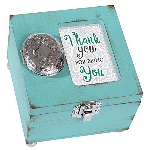 Cottage Garden Thank You for Being You Distressed Teal Wood 4.5 x 4.5 Inch Locket Jewelry Keepsake Box