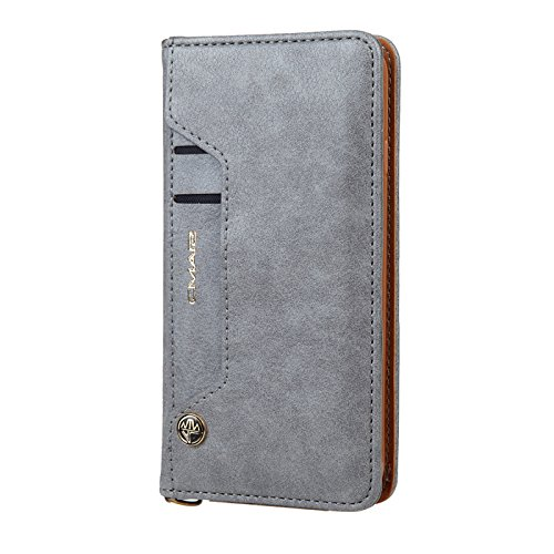 TechCode 7 Plus iPhone Protective Case, Premium PU Leather Magnetic Protective Cover Retro Simple Stylish Flip Smart Case With Card Slots Phone Bumper for Apple iPhone 8/7 Plus 5.5 inch(Grey)