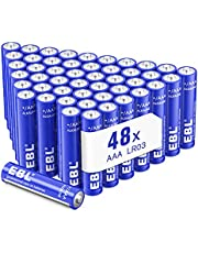 EBL AAA Batteries, 1.5V Triple A Alkaline Battery, All-Purpose Battery for Household and Business - 48 Count