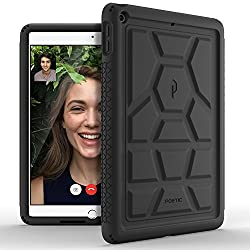 Poetic TurtleSkin New iPad 9.7 Inch 2017 Rugged Case With Heavy Duty Protection Silicone and Sound-Amplification feature for Apple iPad 9.7 (2017 MARCH Released) Black