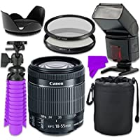 Professional Accessory Kit with Canon EF-S 18–55mm f/3.5–5.6 IS STM Lens & Professional Dedicated Digital TTL Flash + Bundle Package for Canon EOS Rebel SL1, T4i, T5i, 70D, 80D Digital SLR Cameras