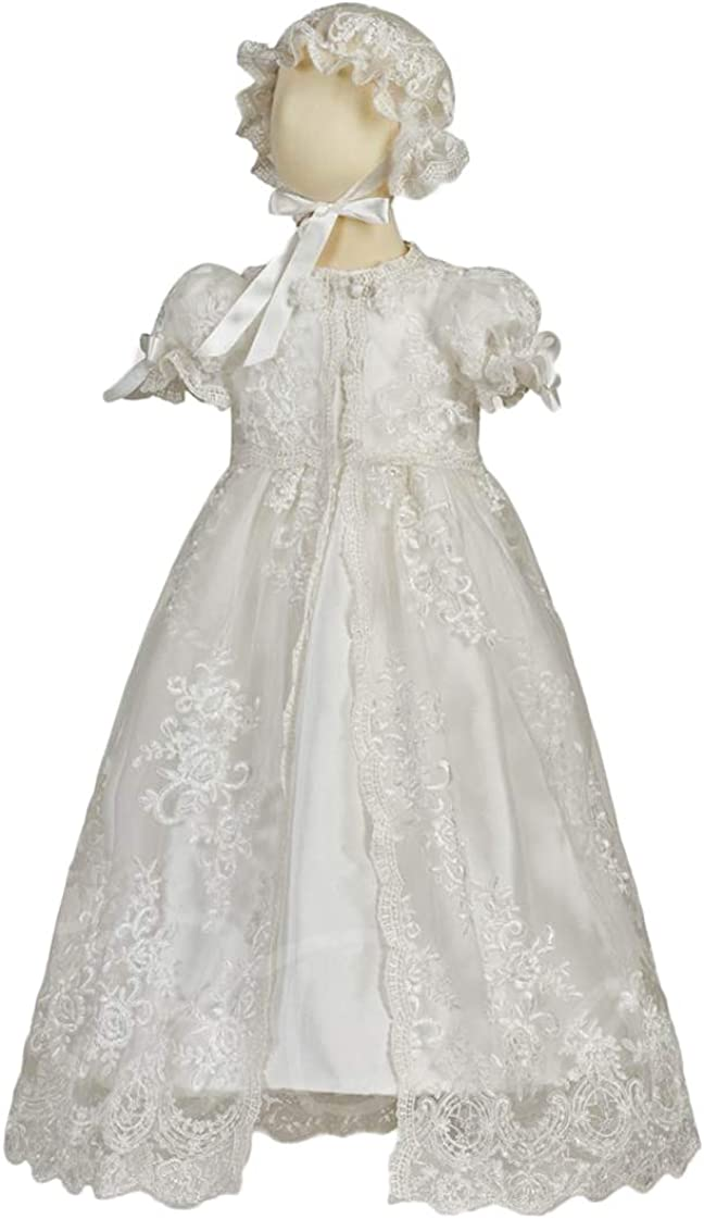 Faithclover Lace Baptism Dresses Baby Girls Toddler Christening Gowns with Bonnet and Bib