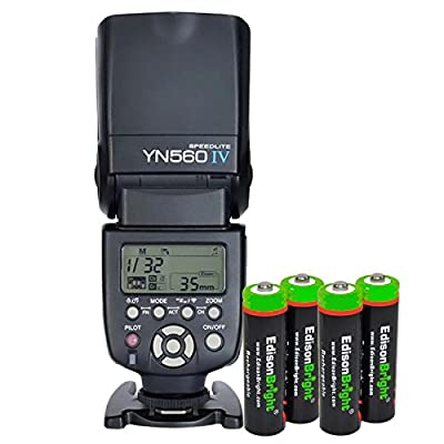 YONGNUO YN560 IV YN-560IV Wireless Flash Speedlite Master / Slave Flash with Built-in Trigger System with 4 X EdisonBright Ni-MH rechargeable AA batteries bundle for Canon Nikon Pentax Olympus Fujifilm Panasonic Digital Cameras by Yongnuo