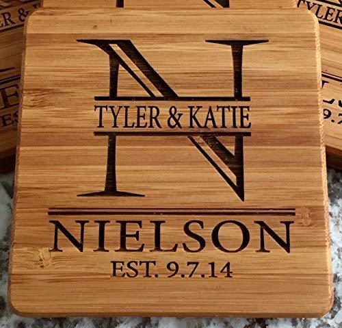 Personalized Wedding Gifts and Bridal Shower Gifts - Monogram Wood Coasters for Drinks (Set of 4, Nielson Design) by Qualtry (Image #1)