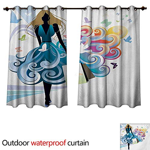 WilliamsDecor Contemporary Outdoor Balcony Privacy Curtain Young Woman Silhouette with Shopping Bags Fantasy Skirt Butterflies Fashion W63 x L63(160cm x 160cm)