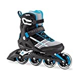Rollerblade Macroblade 84 Womens Adult Fitness Inline Skate - White/Cyan Blue - 84 mm / 84A Wheels with SG7 Bearings - Performance Skates -US size 8, White/Cyan Blue, Size 8