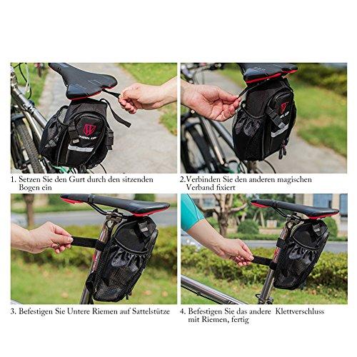 Satteltasche Fahrrad Satteltaschen mit flaschenhalter sattel für Mountainbike MTB Wasserdicht Groß Kapazitäten Schwarz um Rücklicht zu hängen