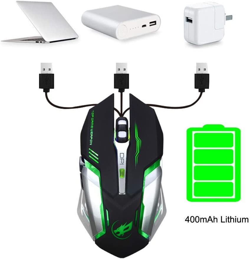 Color : Black YSYYSH Rechargeable T1 Wireless Mute LED Backlight USB Optical Ergonomic Game Mouse USB Mouse