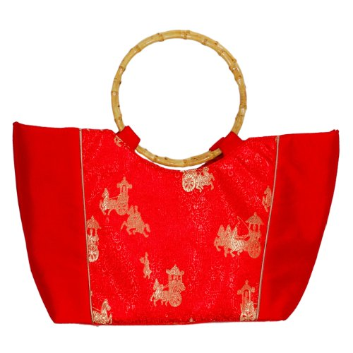 Tasche aus Seide mit Bambushenkel, rot, Handtaschen m. Bambusring, Damentaschen Bambus, Asiatisch, 6813